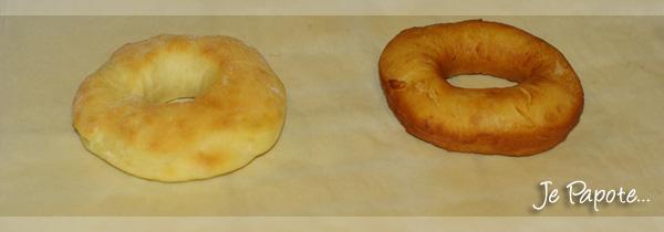 A gauche le donut au four et à droite le donut frit