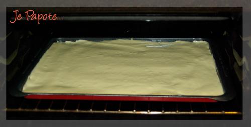 La genoise sur la plaque de cuisson