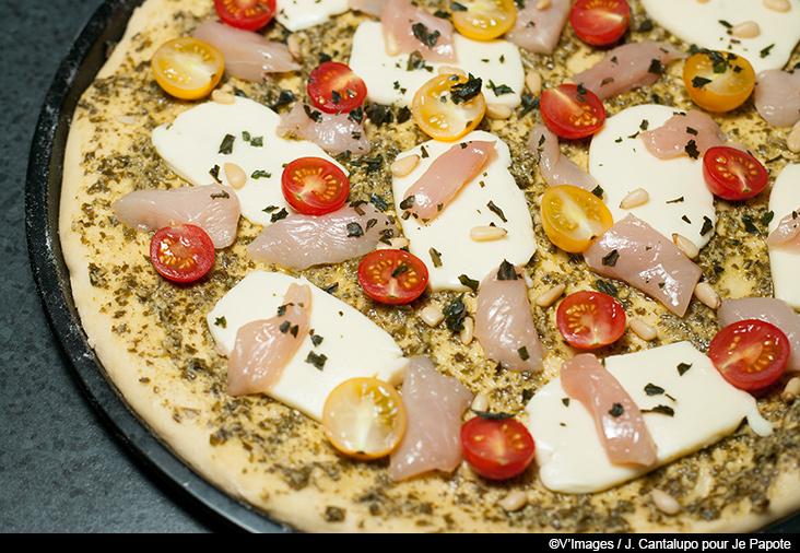 pizza pesto poulet
