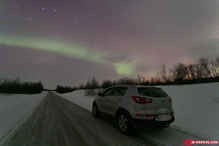 Aurore boreale route Nuorgam
