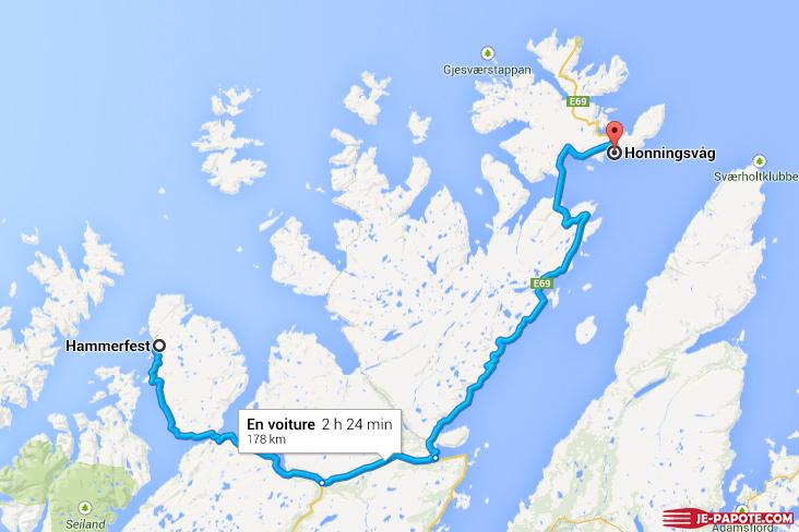 Carte Hammerfest Honningsvag