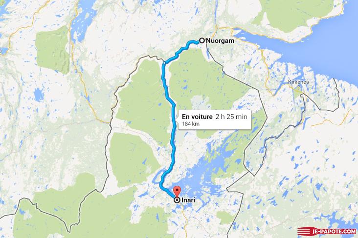carte route Nuorgam Inari