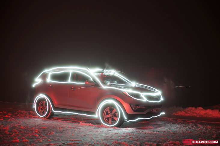 Light painting norvege voiture