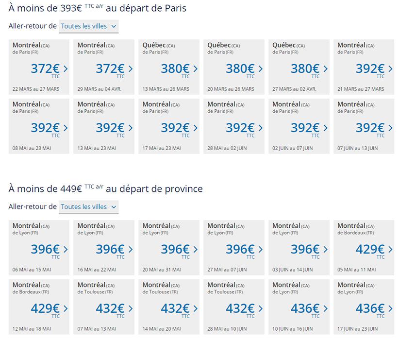 Prix Air Transat Montréal
